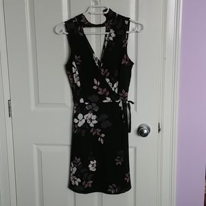 Black, white & purple floral dress